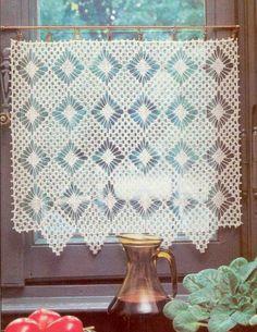 Risultati immagini per modele rideau breton crochet gratuit Crochet Cross, Crochet Art, Love Crochet, Filet Crochet, Crochet Motif, Crochet Doilies, Crochet Patterns, Net Curtains, Crochet Curtains