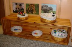 Having baskets can help children to identify the materials available to them into categories instead of stashing a bunch of different toys onto on shelf which can be confusing and messy looking.