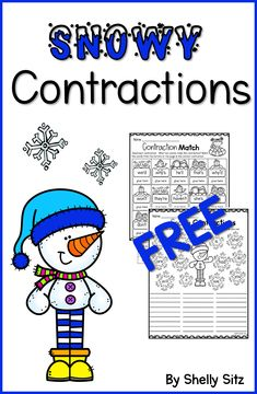 Contraction Worksheet- FREE winter contraction worksheets for first and second grade. Great for centers, morning work, bell work, and homework. First Grade Phonics, First Grade Activities, Grammar Activities, 1st Grade Worksheets, Teaching First Grade, Learning Activities, Kindergarten Learning, Teaching Phonics, English Activities