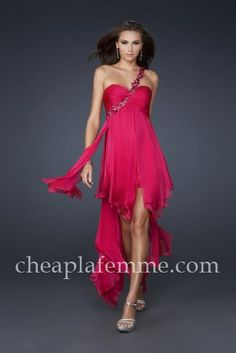 Pleated Short Fuchsia High Low Prom Dress by La Femme 16294
