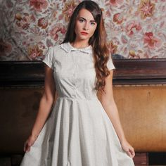 Floral dress with lace trim collar £50.00