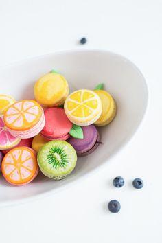 DIY fruit macarons   sugarandcloth.com  Suppose I should know how to make normal macaroons first