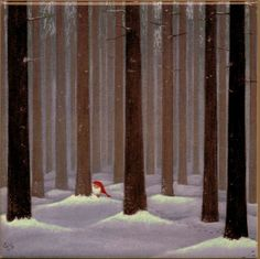 "Trivet Tile ""Tomte in the Woods""  by contemporary Swedish artist Eva Melhuish 6"" X 6"" Cork Back"