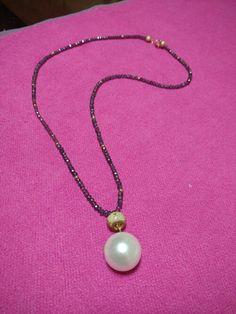 Collar de cristal y perla