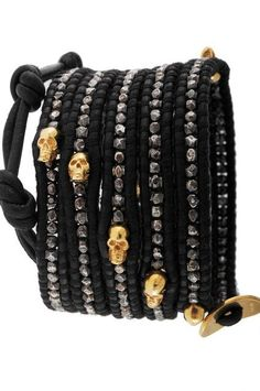 wrap bracelets, @Ashley Rowett, we NEED to find some skully beads so I can make us one (some) of these!!! :)