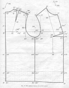 Таблица с пошаговым описанием построения основы плечевого изделия: платья, жакета, сарафана.