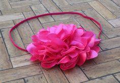 Hot Pink Chiffon Lace Headband Hot Pink Baby by SweetEllasBoutique, $9.95