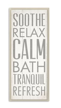 Soothe Relax Calm Bath Typography by Dallas Drotz Textual Art Plaque
