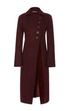 Five Button Wool Coat With Velvet Trim by ZAC POSEN for Preorder on Moda Operandi