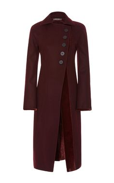 Five Button Wool Coat With Velvet Trim by ZAC POSEN for Preorder on Moda…
