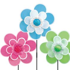 Flower Pinwheels...are too cute for words.. #Fabric #Pinwheels #GrasslandsRoad #37inchtall #colorful #KineticWindSpinner