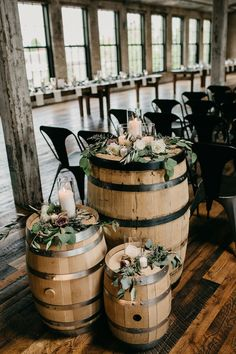 This beautiful June Journeyman Distillery wedding was complete with vintage furniture, travel inspiration and lots of greenery and lavender. Whiskey Barrel Wedding, Beer Wedding, Rustic Wedding, Wedding Wine Theme, Brewery Wedding Reception, Lakeside Wedding, Dream Wedding, Bohemian Wedding Decorations, Wedding Reception Decorations