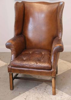 French Leather Wingback Chair From The 1920s