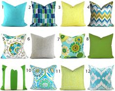 Outdoor Pillow Covers ANY SIZE You Choose Outdoor Decorative Pillow Cover Blue Pillow Green Pillows Ikat Pillow Chevron Pillow