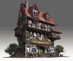 Medieval Pub House, Jongmin Ahn on ArtStation Building Concept, Building Art, Building Design, Casa Medieval Minecraft, Medieval Houses, Environment Concept Art, Environment Design, Bg Design, Fantasy House