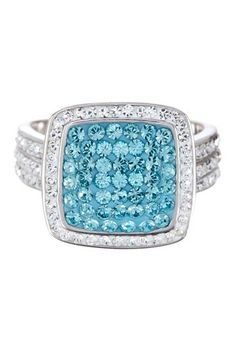 Sterling Silver Micro Pave Aqua Crystal Square Ring by Non Specific on @HauteLook