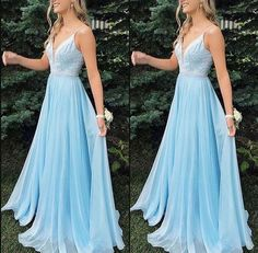 Kleider Charming V-neck Light Blue Long Prom Dress, Beaded A Line Evening Dress, Formal Prom Dresses Deb Dresses, Cute Prom Dresses, Dance Dresses, Pretty Dresses, Beautiful Dresses, Elegant Dresses, Pastel Prom Dress, Light Blue Prom Dresses, Blue Grad Dresses