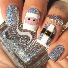 18 Weihnachten Santa Nail Art Designs & Ideen 2018 - The most beautiful nail designs Xmas Nail Art, Christmas Gel Nails, Christmas Nail Art Designs, Holiday Nails, Silver Christmas, Holiday Makeup, Christmas Makeup, Christmas Christmas, Cute Acrylic Nails