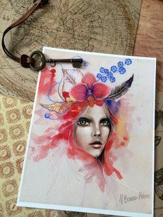 "Mixed media art print ""Red Fairy"" on Etsy by Viktorija Bowers-Adams  https://www.etsy.com/shop/mvalchemy"