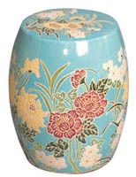 Blue Flower Garden Stool