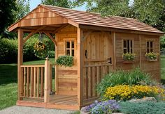 The 8 ft. x 12 ft. Santa Rosa Garden Shed with Porch is an ideal garden shed for mom, a playhouse for the kids, or a retreat for dad. Versatile and functional, this attractive cedar shed will add character to any setting. Looking for backyard sheds?