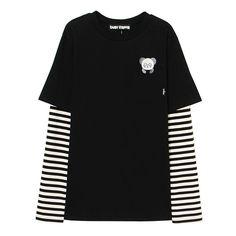 PEPE LAYERED BIG BIG LONG TEE ($99) ❤ liked on Polyvore featuring tops, t-shirts, long layering tees, layered tops, layering tees, layered t shirt and double layer top