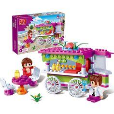 2set/lot snack car DIY enlighten train kids toys educational building blocks compatible With other assembles particles