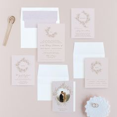 A Sketched Wreath Wedding Invitations by Plain White Paper Co Pastel Wedding Invitations, Monogram Wedding Invitations, Different Wedding Ideas, Wedding Stationery Inspiration, Wreaths For Sale, Simple Weddings, Blush Weddings, Wedding Memorial, Rose