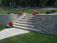 Allan block, Europa collection, Abbey blend, paver walkway, Stairs, Curves