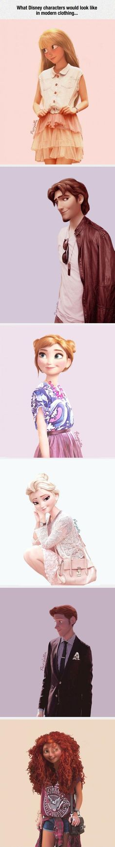 If Disney characters wore modern clothing - Cute, but Rapunzel just doesn't look right with bangs. Also if Rapunzel had bangs, wouldn't they have turned brown? Disney Pixar, Walt Disney, Disney Films, Cute Disney, Disney And Dreamworks, Disney Magic, Modern Disney Characters, Frozen Characters, Fictional Characters