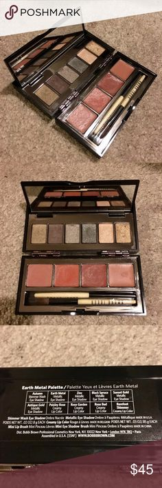 Bobbi Brown Earth Metal Palette Bobbi Brown Earth Metal Palette. 5 Metallic Wash Eyeshadows: Earth Metal, Zinc, Black Spruce, Sunset Gold, Antique Gold. 1 Shimmer Wash Eyeshadow: Autumn. 3 Creamy Lip Colors: Paisley Rose, Rose Garden, Rose Bud. 1 Creamy Lip Color: Barefoot Shimmer. Bobbi Brown Makeup