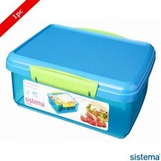 Borosil Sistema Coloured Klip Food Container 2000ml Blue