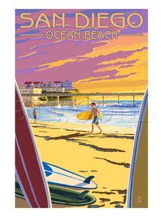 San Diego, California - Ocean Beach Premium Poster at Art.com