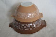 Vintage Pyrex Corning Woodland Nesting Bowls Set Of 2 Mixing Bowls 441 & 442 #PyrexCorning