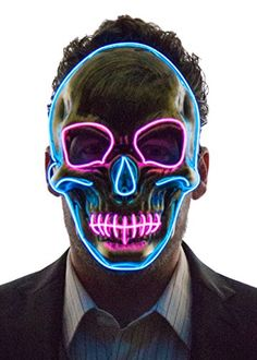 cool Neon Nightlife Men's Light Up Scary Death Skull Mask