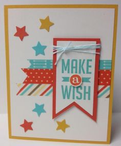Make A Wish!-JB Stamper. Quick, easy celebration card for a variety of uses. From the Perfect Pennant stamp set and lots of washi tape and stars!