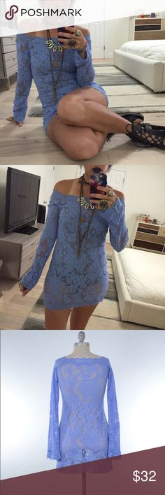 VS sheer stretch lace off the shoulder mini dress Super cute stretch lace tunic/mini dress from Victoria's Secret. Pastel lavender purple. Completely sheer. Long bell sleeves, boycon fit. Size M, can also fit a S. How cute with a strappy bralette and shorts for the summer! Victoria's Secret Dresses Mini