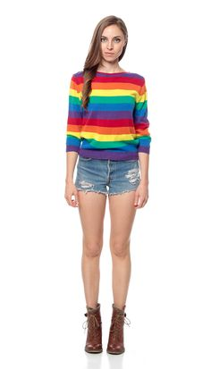 RAINBOW Stripe Shirt Sweater 70s Knit Slouchy by ShopExile on Etsy