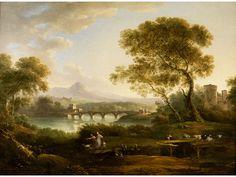 IDEALE LANDSCHAFT MIT FIGUREN UND BRÜCKE Öl auf Leinwand. 53,5 x 74 cm. Obwohl Francesco Zuccarelli aus der Toskana stammte, wurde er zu einem der...