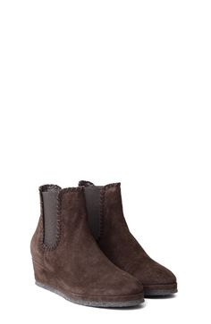 DARK BROWN SUEDE ANKLE BOOTS WITH WEDGE INSIDE
