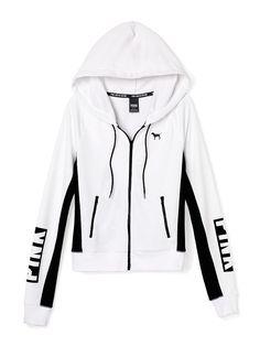 PINK Perfect Zip Hoodie in White $54.95 --- #VictoriasSecret #VSPINK…