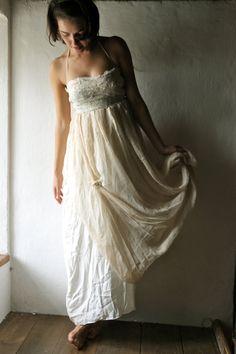 Wedding dress in silk chiffon  halter corset bodice by larimeloom, €270.00