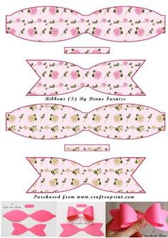 Diy Bow, Diy Hair Bows, Christmas Gift Box, Christmas Crafts, Diy For Kids, Gifts For Kids, Bow Template, Templates, Lolita Hair