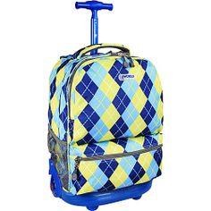 #Backpacks, #JWorldNewYork, #WheeledBackpacks - J World New York Sunshine Argyle-Navy - J World New York Wheeled Backpacks