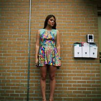 "Psychedelic print dress with minty mesh side cutouts. Channel your inner 1960's in this colorful dress!  The term ""psychedelic"" is derived from the Ancient Greek words psuchē (ψυχή - psyche, ""mind"") and dēlōsē (δήλωση - ""manifest""), translating to ""mind-manifesting"".  Handmade and designed by..."