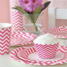 Chevron Hot Pink Party Pack by Illume Design