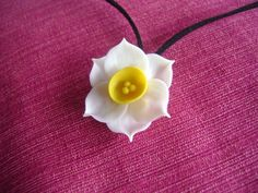 Daffodil Necklace. Clay Flower Necklace by parsi on Etsy