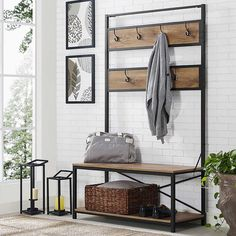 "1,225 Likes, 6 Comments - Bed Bath & Beyond (@bedbathandbeyond) on Instagram: ""Hellooo, new entryway. The Industrial Metal Wood Hall Tree by Walker Edison provides a chic place…"""