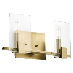Kichler Lighting Signata Collection 2-light Natural Brass Bath/Vanity Light, Gold