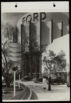 Visitors in Front of Ford Building